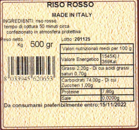 cascina mirani Riso semintegrale rosso ermes 500gr